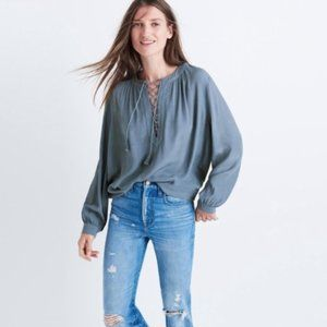 Madewell Lace Up Tassel Peasant Top Size Small